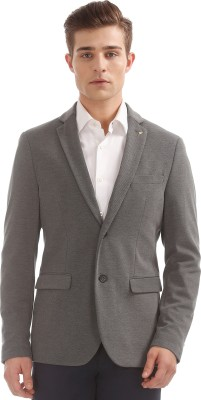 Arrow Solid Single Breasted Casual Men Blazer(Grey)