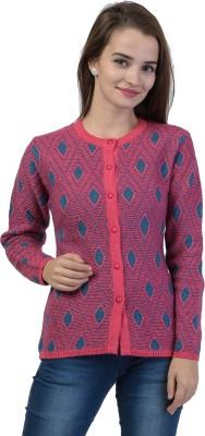 TAB91 Women Button Self Design Cardigan