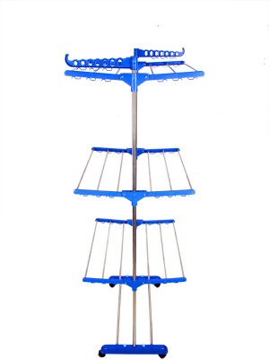 SUNDEX MADE IN INDIA RUST FREE FLOOR MOUNTED CLOTHES DRYING STAND MADE OF STAINLESS STEEL AND HI QUALITY PLASTIC Polypropylene, Stainless Steel Floor Cloth Dryer Stand(Multicolor)