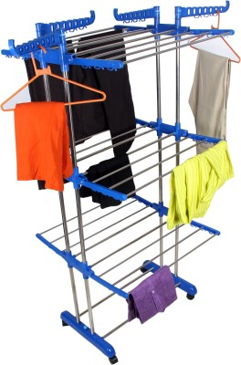 Sukot Folding 3 Layer Cloths Drying rack Clothes Stand Stainless Steel Floor Cloth Dryer Stand (BLUE) Stainless Steel Floor Cloth Dryer Stand(Blue)