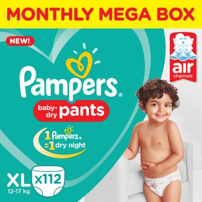 Pampers Pants Diapers Monthly Box Pack New - XL(112 Pieces)