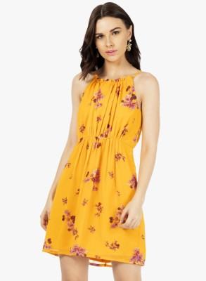 FabAlley Women Skater Yellow Dress at flipkart