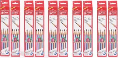 Faber-Castell Trenz Super Dark Pencils Pack of 10 box Includes 100 pencils + 10 dust free eraser + 10 Sharpener + 10 scale(15cm) Pencil(Set of 10, Multicolor)