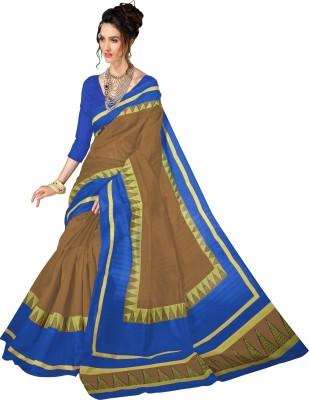 The Fashion Outlets Printed Bhagalpuri Silk Saree(Brown, Blue) Flipkart