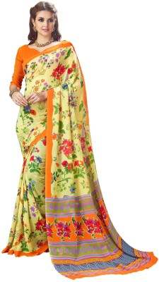 The Fashion Outlets Printed Bollywood Georgette Saree(Yellow) Flipkart