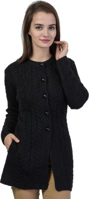 TAB91 Self Design Round Neck Casual Women Black Sweater