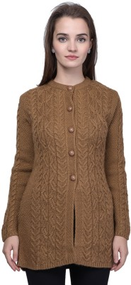 TAB91 Self Design Round Neck Casual Women Brown Sweater