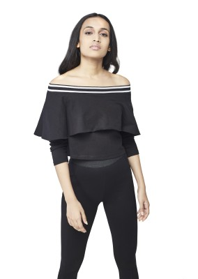 AND Casual Full Sleeve Solid Women Black Top