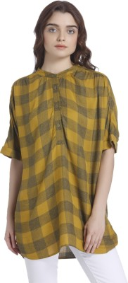 People Casual Short Sleeve Checkered Women Yellow, White Top