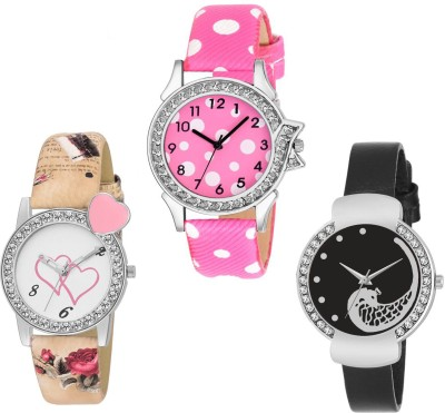 GUOYU Sett Of Two Metal And Leather Strap Couple Combo For Men And Women GY-124 Watch  - For Boys & Girls