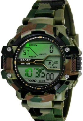 indo club 012 indo club GREEN ARMY Pattern CASUAL LOOK SEVEN LIGHT AWESOME QUALITY Watch - For Boys Digital Watch  - For Boys
