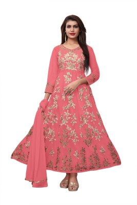 AnK Net Embroidered Salwar Suit Material(Semi Stitched)