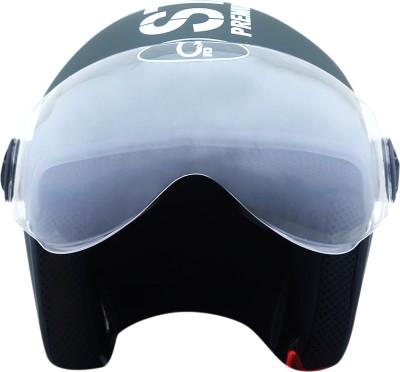 AutoVHPR Present O2 Black Pilot Style I S I Certified Helmet with Goggles Style Visor Motorbike Helmet(Black)