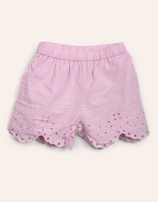 Miss & Chief Short For Girls Casual Solid Cotton Blend(Pink, Pack of 1) at flipkart