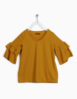 Chemistry Girls Polycotton A-line Top(Gold, Pack of 1) at flipkart