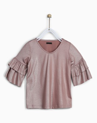 Chemistry Girls Polycotton A-line Top(Pink, Pack of 1) at flipkart