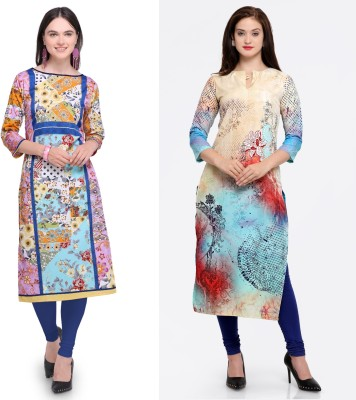 Envy 9 Casual Floral Print Women Kurti(Pack of 2, Multicolor)