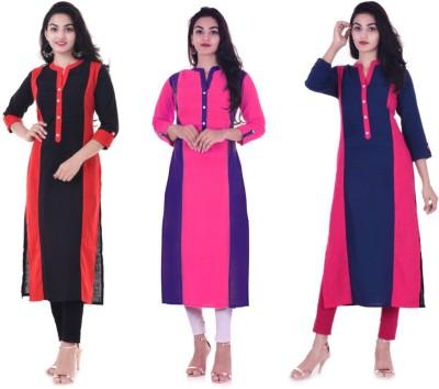 Blinkstar Casual Self Design Women Kurti(Pack of 3, Black, Pink, Blue)