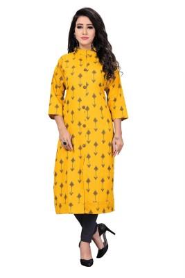 PURVAJA Festive & Party Printed Women Kurti(Yellow)