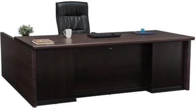 Durian THEON Engineered Wood Office Table(Free Standing, Finish Color - Smoke Oak)
