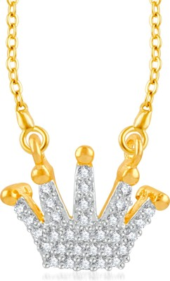 VK Jewels Stone Studded Butterfly Gold-plated Cubic Zirconia Brass, Alloy Pendant