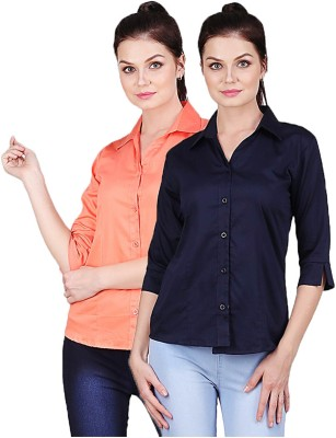 Manash Fashion Women Solid Formal Orange, Dark Blue Shirt(Pack of 2)