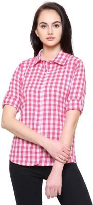 STC Women Checkered Casual Pink, White Shirt