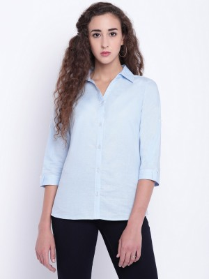 The Gudlook Women Solid Formal Light Blue Shirt