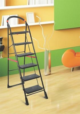 Flipzon Folding 6 Wide steps Iron Ladder(With Platform, Hand Rail)