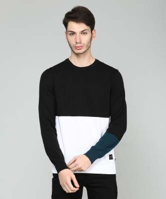 Levi's Solid Round Neck Casual Men Black, White Sweater at flipkart