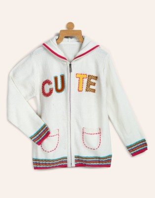 Miss & Chief Applique Casual Girls White Sweater at flipkart