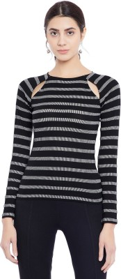 Primo Knot Casual Regular Sleeve Striped Women White, Black Top
