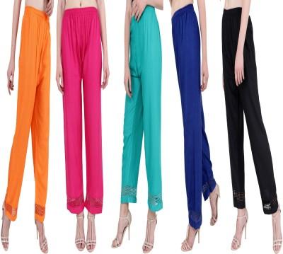 RMG FASHION Regular Fit Women Green, Orange, Pink, Blue, Black Trousers