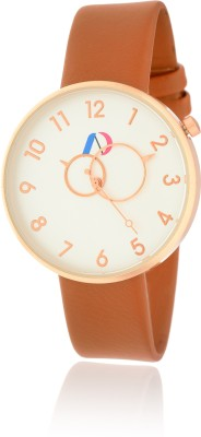 AD Global 3474-Brown Leather With White Designer Dial Casual Boy
