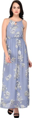 NIXX Women Empire Waist Grey, White Dress