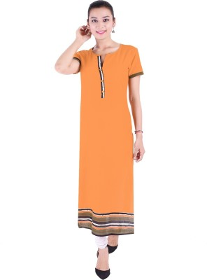 Saara Women Striped, Printed Straight Kurta(Yellow)