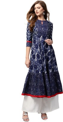 Libas Women Printed Anarkali Kurta(Blue)