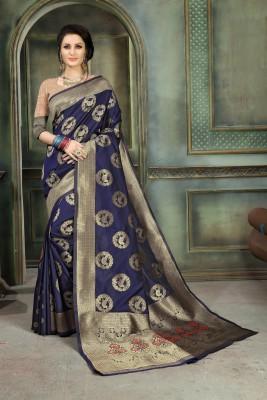 Aashvi Creation Solid, Animal Print Banarasi Jacquard, Cotton Silk, Art Silk, Kota Silk Saree(Dark Blue) Flipkart