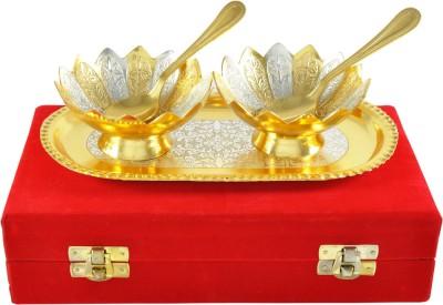 Adiidev Gold And Silver Plated Bowl Tray Set Pack of 5 Dinner Set(Brass) at flipkart