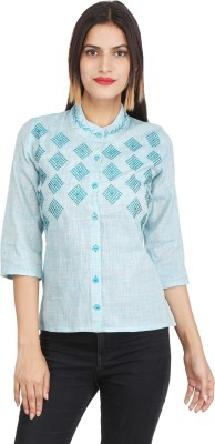 XEE Women Embroidered Casual Blue Shirt