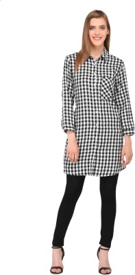 Amadore Women Checkered Casual Black Shirt