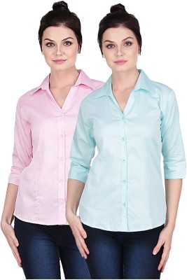 Manash Fashion Women Solid Formal Pink, Light Blue Shirt(Pack of 2)