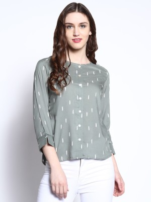 RARE ROOTS Casual 3/4th Sleeve Printed Women's Grey Top