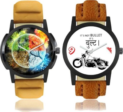 "Opulent Arena ""4 Elements of Earth"" Printed and ""Bullet"" Printed Analog Dial New Trending Combo of 2 Watch Opulent Arena New Special (Combo) Collection Of 4 Elements of Earth Printed And Bullet Printed On Round Shaped Black Dial Analogue Stylish Looked Leather Strap Trendy And New Special Production"