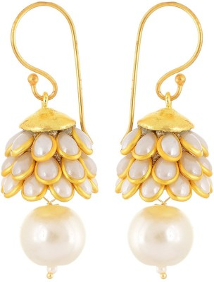 Aabhu Aabhu Gold plated Pacchi Jewellery Stone Studded Pearl Beaded Handmade Jhumki Earrings For Women & Girls Pearl Alloy Drop Earring