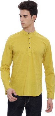 The Indian Garage Co Men Solid Straight Kurta(Yellow) at flipkart