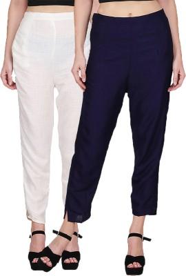 KA Fashion Slim Fit Women Cream, Dark Blue Trousers
