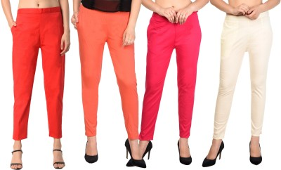 PAMO Regular Fit Women Red, Red, Pink, Beige Trousers