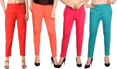 PAMO Regular Fit Women Red, Red, Pink, Gold Trousers