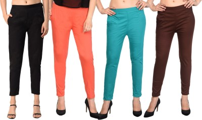 NICE CREATIONS Regular Fit Women Black, Red, Light Green, Brown Trousers